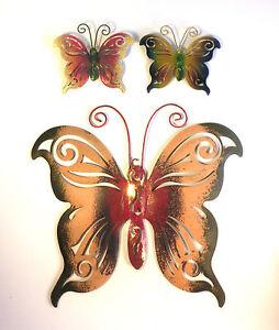 Schmetterling metall wanddeko wandschmuck rostfrei wandtattoo garten wetterfest ebay - Garten wanddeko ...
