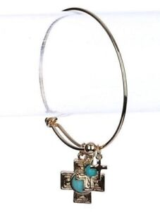 Gold-Western-Cowgirl-Textured-Cross-Turquoise-Bangle-Faith-Bracelet