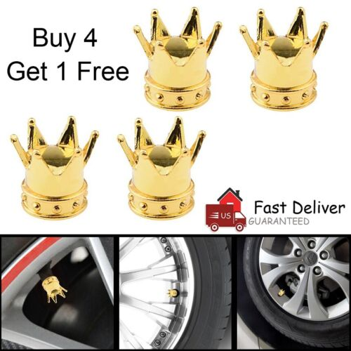 4 PCS Tire Wheel Tyre Valve Stem Caps Set Air Dust Cover Caps Gold Crown US