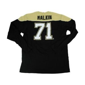 4cd8184ed Evgeni Malkin Penguins Reebok NHL Black Gold Shootout Long Sleeve T ...