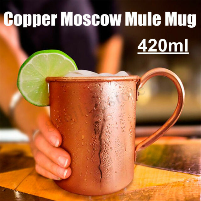 15OZ Pure Copper Mug Cup Moscow Mule Coffee Beer Drinking Cocktail Camping Tool