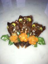 Rare Stunning Handmade Lucky Brown Owl Pin Brooch Vtg Costume Jewelry Flowers