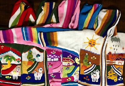 Child/'s Arpillera Handmade Peruvian Sweater From Peru Blue 4T
