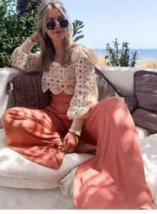 ZARA-PINK-CORAL-BLUSH-FLOWING-PALAZZO-WIDE-LEG-FLOWY-PANTS-TROUSERS-WITH-POCKETS