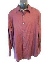 Apt. 9 100% Cotton Modern Fit Red Berkley Stripe Point Dress Shirt Sr$40