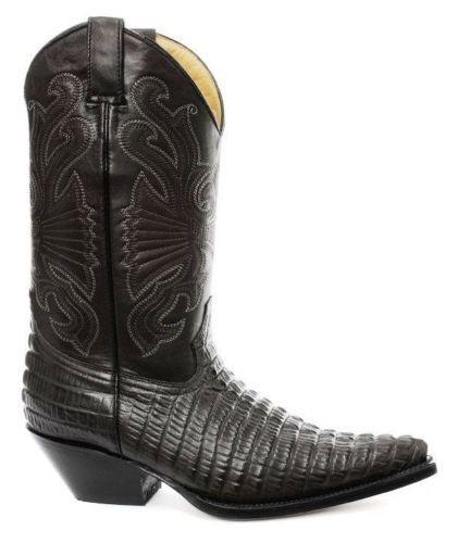 Grinders Carolina Botas Cocodrilo Cuero Negro Cola Cowboy Oeste Botas Carolina REINO UNIDO 6-12 c37b07