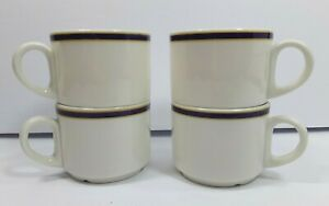 Set-of-4-Royal-Doulton-Capital-Cups-White-with-Blue-and-Gold-Trim
