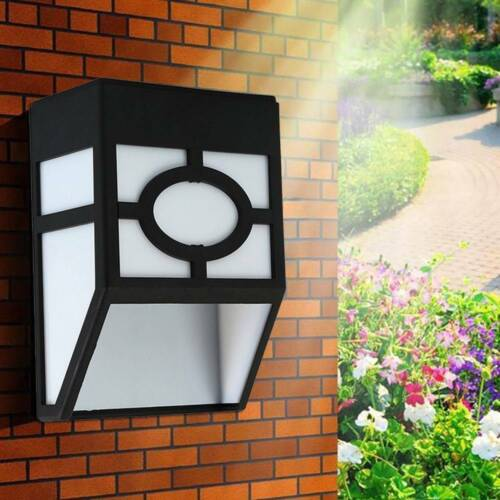 LED Solar Powered Wall Light Waterproof Garden Path Fence Yard Patio Door Lamp