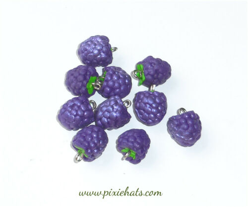 Purple grape berry beads handmade polymer clay fruit charms