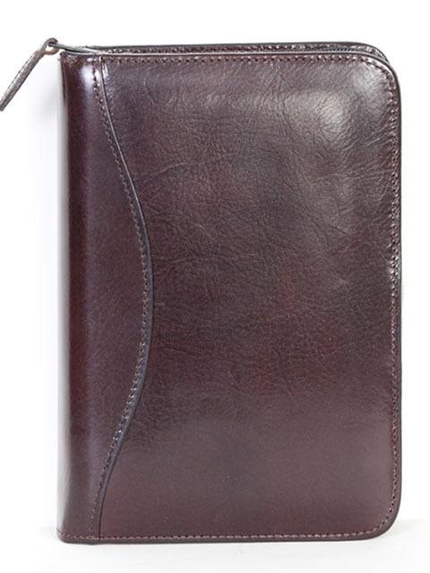 Scully Leather 83Z-06-29 Walnut 6-Ring Zippered Address Book