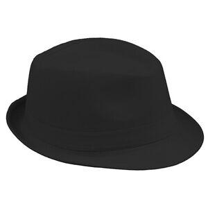Kids Children Boys Girls Fedora Trilby Hats Sunhat Caps Black Solid Jazz 2  Sizes 6ec245a9b356
