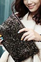 Grande Pochette De Soiree -noire A Sequin- Faux Cuir - Women Bag