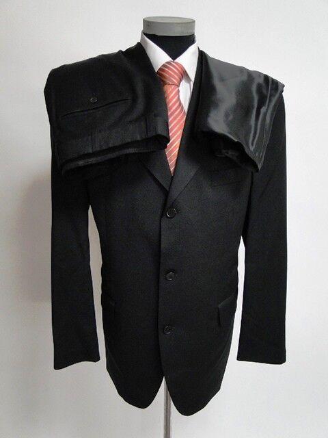 Roy Robsen Anzug Super 100 Einreiher Schwarz Unifarben Schurwolle Gr. 27   54