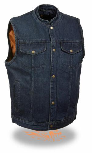 Homme Front Snap Bleu Denim Vest W Pistolet poche