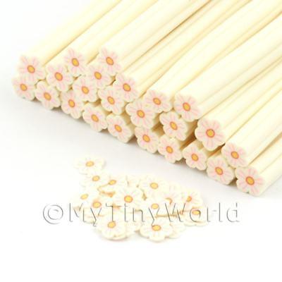 3x Blanco Y Rosa Flor canes Hecho a Mano-Arte en Uñas dnc75