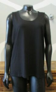 EILEEN FISHER Womens Black Stretch Knit Sleeveless Blouse Tank Top - M