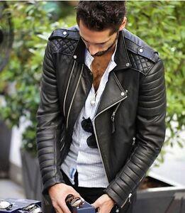 New Men/'s Genuine Lambskin Leather Jacket Black Slim fit Biker jacket