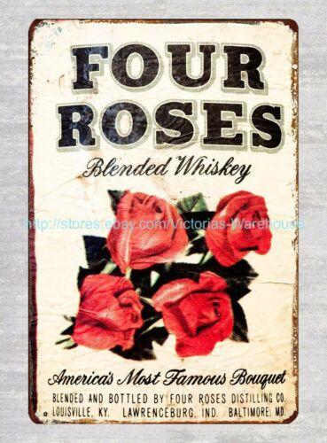 indoor outdoor art prints for walls Four Roses metal tin sign