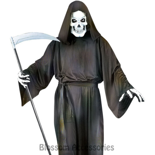 CL89 Mens Grave Reaper Scary Halloween Fancy Dress Costume Robe Mask