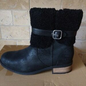 47fdb2f0da3 Details about UGG Blayre II Black Leather Sheepskin Cuff Ankle Boots  Booties Size US 6 Womens