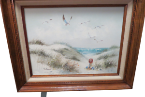 Original-Oil-On-Canvas-Framed-Painting-Signed-Edward-Runci-Beach-Scene-21-034-x-17-034