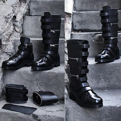 BytheR Men's Gothic Rock Korean Fashion Black Zip Transform Boots P000BGYC CA