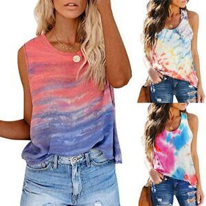 Women-039-s-Summer-Sunflower-Tie-Dye-Sleeveless-Top-V-Neck-T-Shirt-Casual-Tanks-Tops