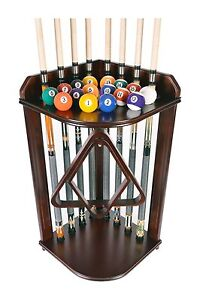 Pool Cue Rack Only- Billiard Stick Stand Holds 8 Cues & Ball Set Mahogany Finish