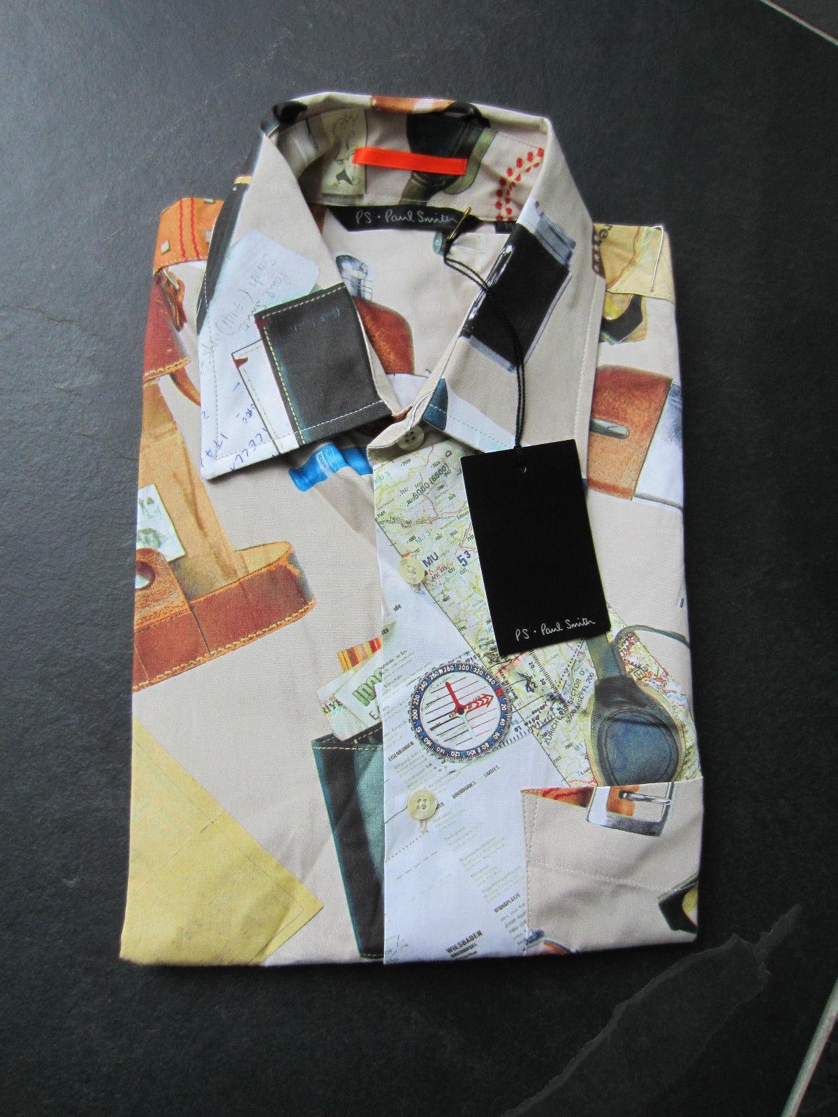 Paul Smith   PS   kurzärmlig   Reise Karte   Hemd   | Feine Verarbeitung