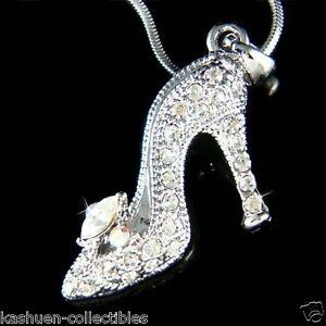 55bf5bebb15d1 Image is loading w-Swarovski-Crystal-Cinderella-Slippers-Princess-High-Heel-