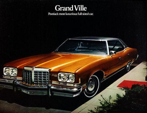 1974 Pontiac Grand Ville Original Car Sales Brochure Folder