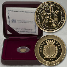 5 EURO MONETA COIN Malta Prag ORO PP proof 2014 più piccola moneta oro del mondo