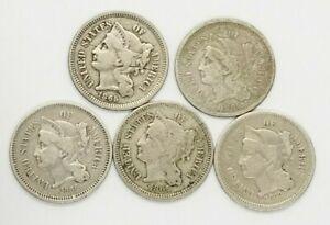 Three Cent Nickel 1865-1889 Average Circulated G-VF Encapsulated