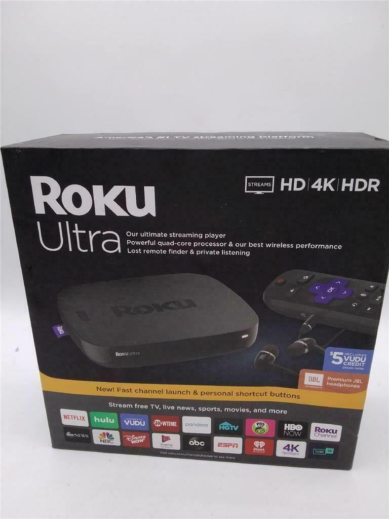 Roku Ultra Streaming Media Player 4K/HD/HDR Bundle - Enhanced Voice Remote bundle enhanced media player remote roku streaming ultra voice