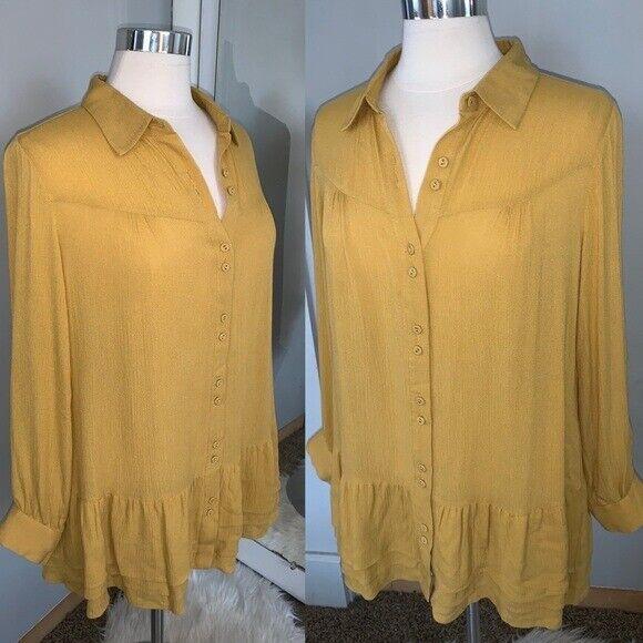 Soft Surroundings mustard yellow tunic blouse Sz M - image 3