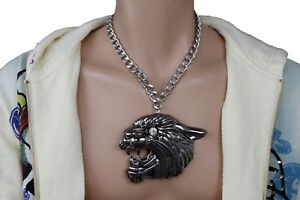 Men-Silver-Metal-Chains-Fashion-Necklace-Pewter-Iced-Large-Tiger-Pendant-Charm
