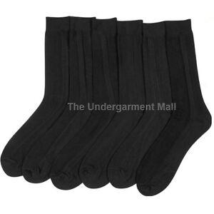 Socks-Dress-Black-Men-10-13-Mens-Size-9-11-Pairs-12-Crew-Casual-Fashion-Ribbed