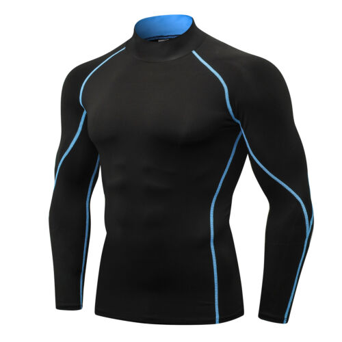Mens Winter Athletic Shirt Compression Baselayer Gym Mock Neck Long Sleeve Tops