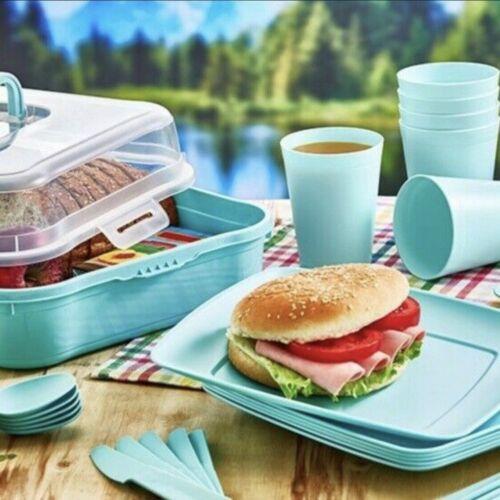 32pc Picnic Set Plaques de plastique Bols mugs CUILLERES FOURCHETTES réutilisable camping