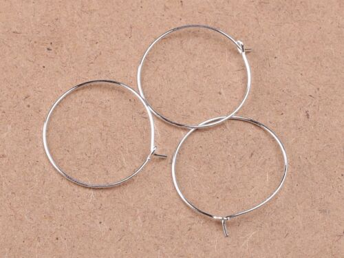 100 Silver Tone Wine Glass Charm Rings ~ Round Earring Hoops 25mm-35mm Jewelry
