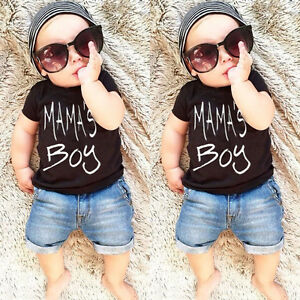Summer-Toddler-Kid-Baby-Boy-Clothes-T-shirt-Top-Tee-Denim-Short-Pants-Outfit-Set