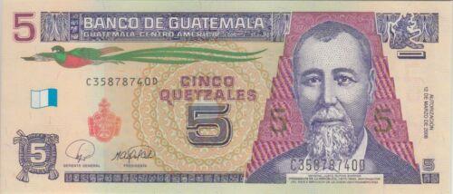 UNC Lot of 8 Guatemala Banknote P116 5 Quetzales 2008 Prefix SFX C//D