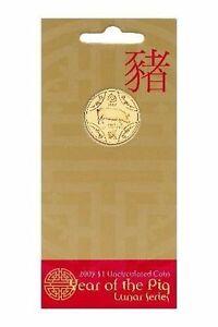 Gift Idea 2007 Australia Lunar Year of The Pig $1 Dollar BU Coin on RAM Card