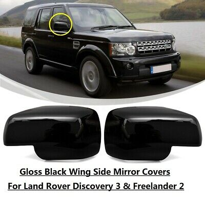 Gloss black door wing half Mirror caps covers for Land Rover Freelander 2 2010+