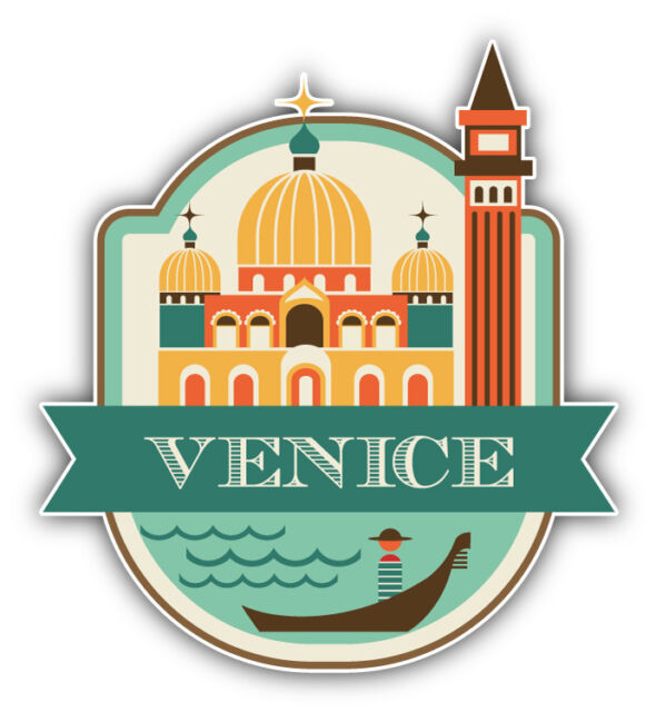 "Venice City Italy Travel Emblem Car Bumper Sticker Decal 5"" x 5"""