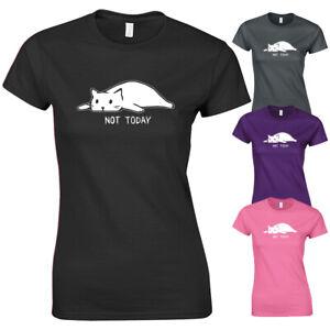 Pas-Today-Lazy-Cat-Funny-meme-Hipster-Slogan-graphique-NEW-T-shirt-femme