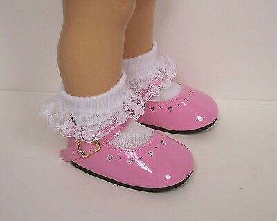 Debs BLACK Mini Heart Cut-Out LL BUCKLE Doll Shoes For Chatty Cathy