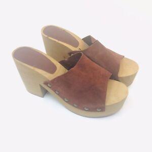 9a9c0548017e0a Zara Brick Brown Leather Platform Studded Wedges Clog Sandals Size 9 ...