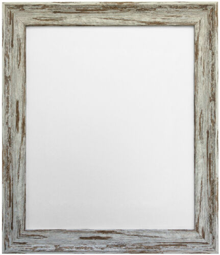 Distressed Industrial Dark Brown Lime Wash Style Picture Photo Frames 31 Sizes