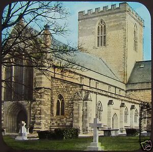 COLOUR-Glass-Magic-Lantern-Slide-ST-ASAPH-CATHEDRAL-C1890-WALES-PHOTO